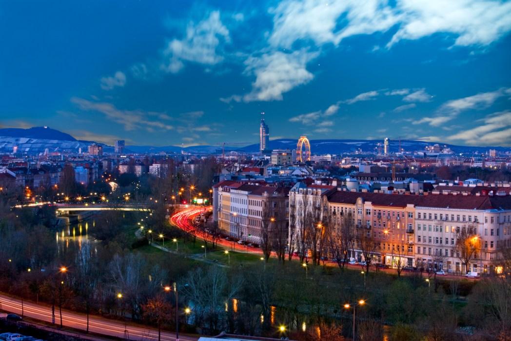 Centro ciudad viena de noche
