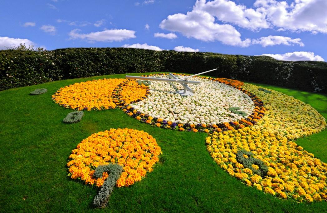 reloj de flores del jardín inglés en ginebra