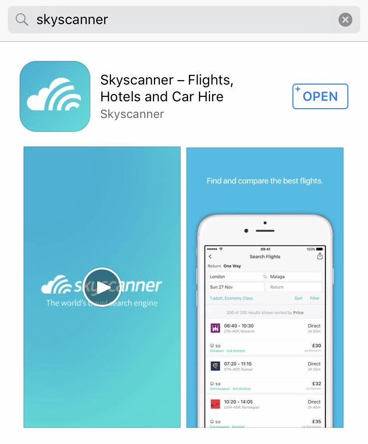 Empieza a buscar vuelos baratos en la App de Skyscanner 079d6602131