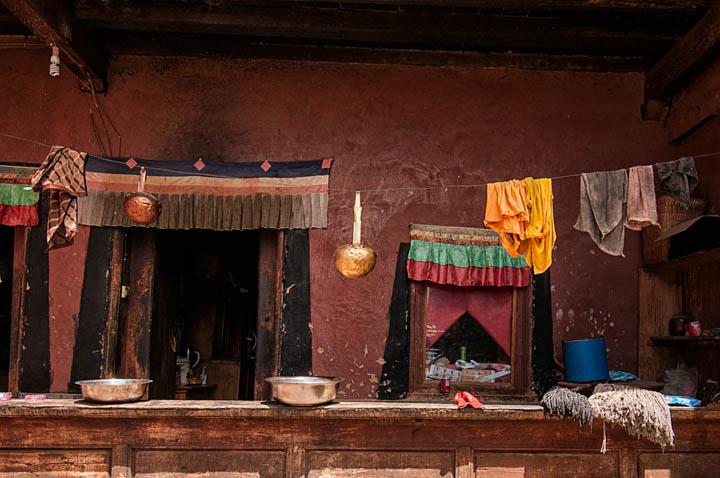 Fachada de una casa tibetana