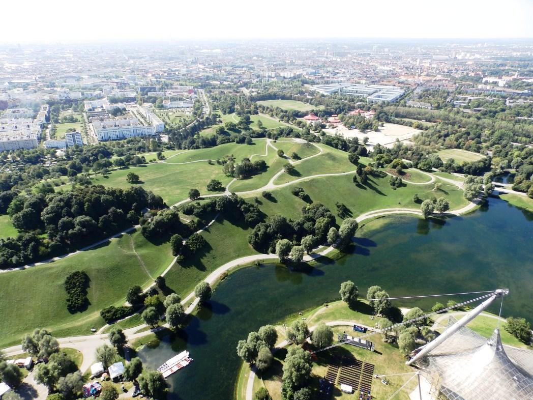 vista aérea del parque olympiapark en múnich