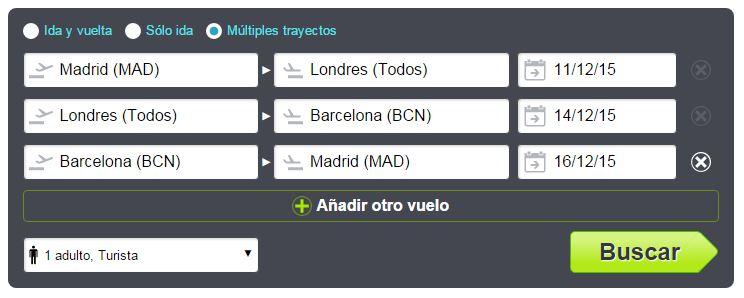 búsqueda de vuelos con múltiples trayectos en Skyscanner