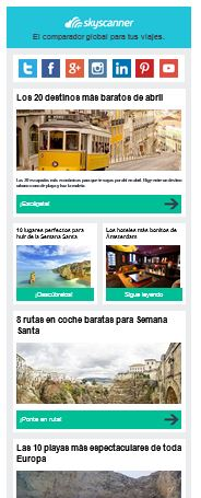 Skyscanner newsletter Spain