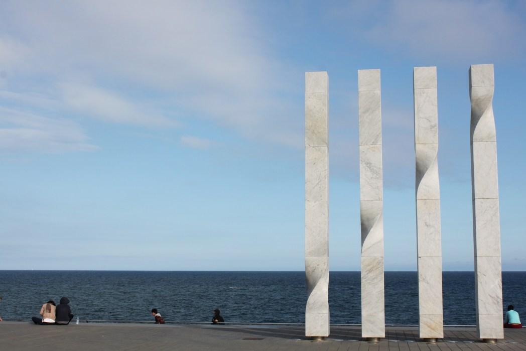 rincón de les quatre barres en la playa de Barcelona